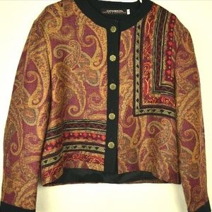 CanvasBacks Womens M Burgundy Multi color Jacket